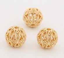 1Pcs Metal Jewelry Accessories Materials Brass Gold Handmade Beads Simple Pimple Hollow Ball Isolated Beads DIY Craft Supplies(China)