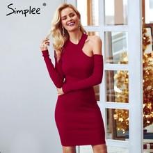 c84fddf0de Simplee Sexy bodycon cold shoulder sweater women dress Elegant red long  sleeve mini dress Softly autumn