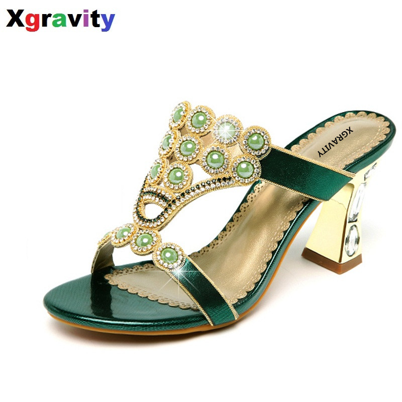 Sexy Summer Shoes New Ladies Casual Dress Shoes Sexy Crystal Rhinestone Design Women Sandal Hot Ladies Flip Flop Slippers B265<br>