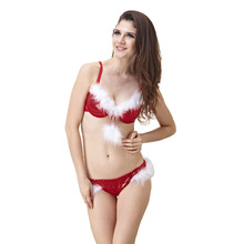 Buy Women Bra Christmas Gift Red Sequins Push Bra Set Sexy Lingerie + Briefs Bra Set Halloween Clothing 34B 36B 34C 36C