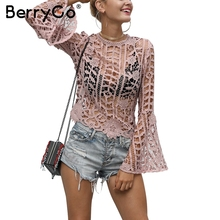 Buy BerryGo Sexy lace hollow blouse shirt Women flare sleeve pink blouse female tops Autumn streetwear flower back zipper blouse for $16.24 in AliExpress store
