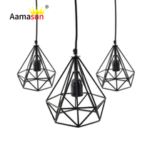 Diamond Shaped Hollow Art Deco Lampshade E27 Iron Black Paint Pendant Bulb Holder Vintage Lamp Shade House Coffee Club Decor