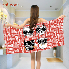 FOKUSENT Polyester Cotton Microfiber Bath Towel Printed Cartoon Black and White Striped Cat Face Beach Towel Yoga Mat(China)