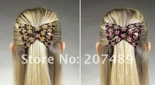 fashion magic multifunction rose flower multi-color Stretchy elastic Beaded Hair Combs Clip  hairpins accessories whcn+