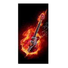 1 Pcs Abstract Fire Guitar Huge Canvas Wall Art Print Painting Modern Red Black Musical instruments Artwork Living Room Decor
