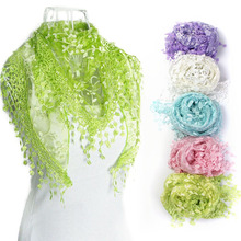 2017 New Brand design Summer Lady Lace Scarf Wrap Shawl Tassel Sheer Metallic Women Triangle Bandage Floral Print scarves Shawl