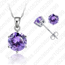 "PATICO Elegant 8 Colors Cubic Zirconia 925 Sterling Silver Jewelry Sets 6 Claws Stud Earring Pendant Necklace 18"" Chain(China)"