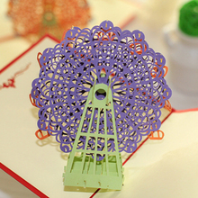 Creative Purple Color 15*15CM Papercraft Pop-Up 3D Ferris Wheel Valentine Cards May Love Goes Round And Round