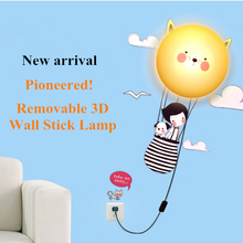 2014 New DIY Fire Balloon Paper Sticker 25W Wall Lamp Children Room Decoration Home Novelty Lighting Creative Gift Free Shipping