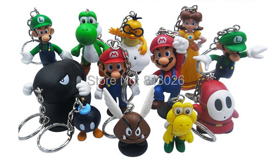 12pcs/set keychain Super Mario Bros figures PVC Collection figures toys for christmas gift brinquedos ToyO0067<br><br>Aliexpress