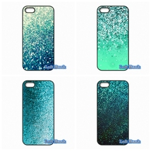 For Apple iPhone 4 4S 5 5S 5C SE 6 6S 7 Plus 4.7 5.5 iPod Touch 4 5 6 Teal Blue Glitter Amazing Case Cover