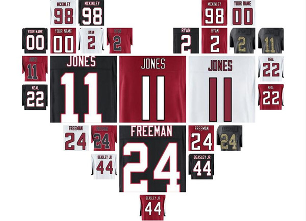 julio jones deion sanders Matt Ryan Takkarist McKinley atlanta Freeman jersey falcons throwback 4xl youth american jersey(China)
