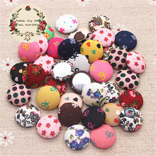 50pcs Mix colors 15mm Flower Fabric Covered Round Button Flatback Cabochon DIY Decoration Buttons Scrapbooking,BK1009