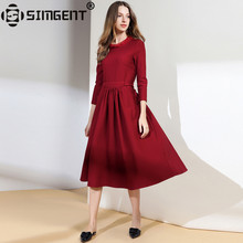 Buy Simgent Middle Age Women Spring Three Quarter Sleeve One Neck Solid Office Vintage Elegant Dress Ladies Clothing Vestido SG81184 for $24.57 in AliExpress store
