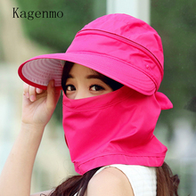 Kagenmo 2017 fashion thin cotton sun hat protection face neck women ride hat breathable mask riding caps anti-UV disassemble