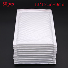 50pcs / (13 * 17cm + 3cm) White Bubble Envelope Bubble Film Bag Pearl Film Envelope Shock Bag