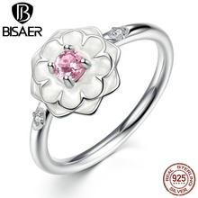 BISAER Party Finger Rings White Flower Pink Stone 925 Sterling Silver Ring Women Fashion Jewelry WEU7177(China)