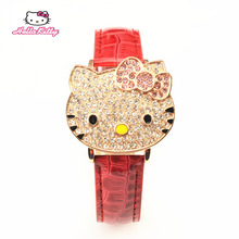 Full Crystal Clamshell Watch Women Hello Kitty Young Quartz Analog Watch Cartoon Fashion PU Leather Wristwatch Major relojes
