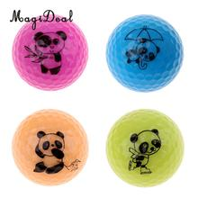 MagiDeal 4 Pieces Golf Driving Range Practice Ball Double Layer Golf Ball Cute Panda(China)