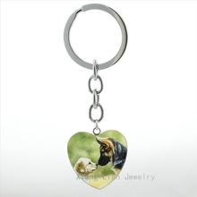 Cute funny dog keychain Tibetan Mastiff Little Dog art picture animal heart shape pendant key chain ring men women jewelry HP459