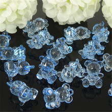 LANSSEN 100pcs Miniature Acrylic Bear Charms Baby Shower Favor For Table Scatter DIY Kids' necklace Party Decorations 14 x 19mm