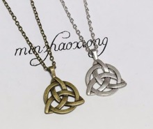 Amulet Charm Necklace Vintage Antique Bronze Plated Triquetra Trinity Knot Triangle Pewter Pendant & Necklace DIY Jewelry 1pcs(China)