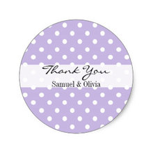 3.8cm Lavender Round Custom Polka Dotted Thank You Classic Round Sticker(China)