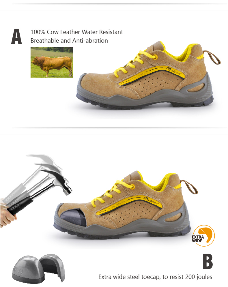 Safetoe Safety Shoes Mens Work Boots Safety Shoes Steel Toe Work Boots Fashion Leather Shoes Working Safety Boots Size US 4-13 2