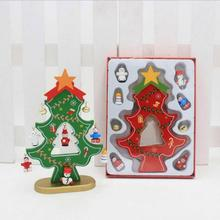 DIY Christmas Ornament Wooden Christmas Tree Christmas Hanging Ornament Gift for Children Home Xmas Table Decoration 5(China)