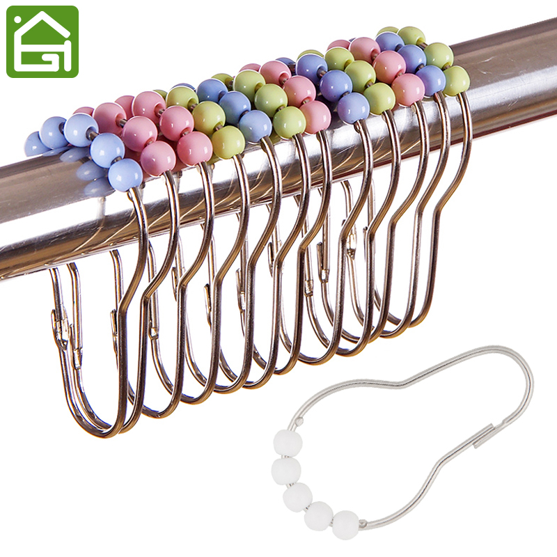 12 Pieces Set Rustproof Stainless Steel Shower Curtain Rings Hooks Bathroom Rod