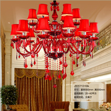 High ceiling red crystal chandelier Large Led vintage chandelier Crystal lamp entance hotel hall candle holder shades lighting