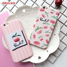 JIBAN Pure and Fresh Fruit Honey Peach Phone Case For iphone 5s Capa Luxury Hard Plastic Back Cvoer for iphone 6 6s 6plus Case