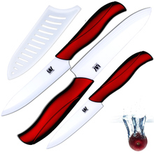 "New ceramic knife 4"" utility 5"" slicing knife 6"" chef knife with white blade + red handle and high thickness kitchen knives set(China)"