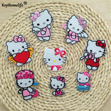 Keythemelife 8 Style Hello Kitty Embroidered Iron On Cartoon Patches Garment DIY Appliques Accessories For kids C3