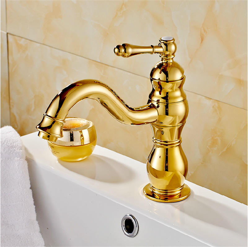 Free shipping 2015 new arrival gold bathroom faucets brass golden european style basin sink mixer tap,luxury faucet,torneiras<br><br>Aliexpress