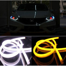2Pcs/Lot 45cm 60cm 12W White Yellow Flexible drl Switchback Strip led Daytime Running Lights With Turn Signal Light