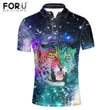 FORUDESIGNS Cool Universe Superstar Polo Shirt for Men Brand Clothes Male Short Sleeve Shirt 3D Animal Tiger Wolf Print Man Polo(China)