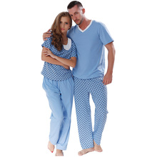 New 2016 Lovers Spring Summer Cotton Pyjama Printed Short Sleeve Sleepwear Suit Couple Pajama Set For Men Women