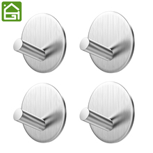 4 Pieces Heavy Duty Self Adhesive Rustproof SUB 304 Stainless Steel Hooks Bathroom Towel Bag Hanger(China)
