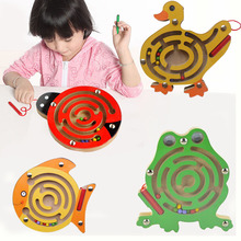 2017 1pc Magnetic Maze Kids Wooden Animal Puzzle Early Educational Learning Toys Intellectual Game for Children