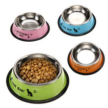 Stainless Steel Pet Food Feeding Bowl Anti-skid Pet Dog Cat Food Water Bowl Feeding Drinking Bowls Pet's Supplies Tool Dia 11cm(China)