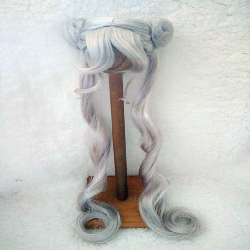 9-10 BJD doll wig double horse silver color sailor moon wig<br>