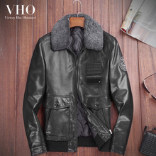 VHO leather jacket men's air force flight suit fashion genuine leather down coat real sheepskin motorcycle biker leather jacket(China)