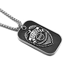 HIP Punk America USA Police Officer Symbol Pendants Necklaces Cool Black Titanium Stainless Steel Dog tags for Men Jewelry(China)