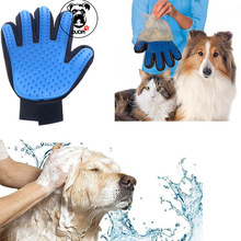 Silicone True Touch Glove Gentle Efficient Pet Grooming Brush Bath Dog Cat Gloves For Removing Hair From Domestic Animals(China)