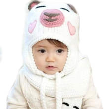 Boys Girls Baby Toddler Winter Warm Crochet Knit Earmuff Hat Bear Pattern Caps Wool Earmuff Ear Protector Hat