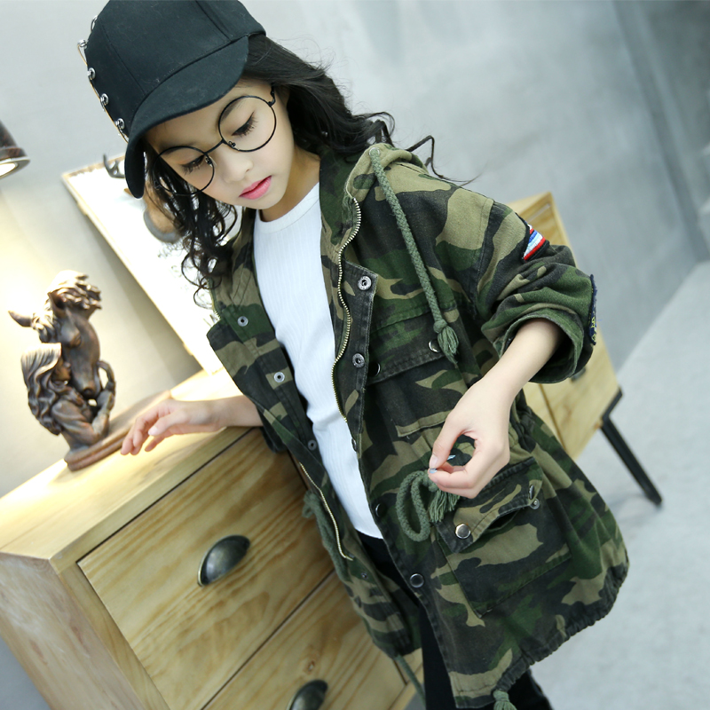 Girls Trench Coat Autumn 2017 Kids Girls Camouflage Jacket Children Long Coat Kids Girls Jackets and Coats Teenage Girls Outwear<br>