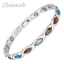 Channah 2017 Ladies Colourful Semi-Precious Stones Magnetic Bracelet Stainless Steel Women Bio Wristband Charm Female