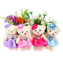 Lovely Cute Hat Baby Girl Teddy Bear Mini Model Bow Design Plush Toys For Wedding Party Home Decoration Toys