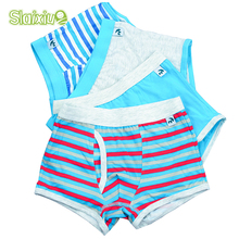 4 Pcs/lot Soft Organic Cotton Kids Underwear Colorful Boys Shorts Panties Baby Boy Boxer Children's Teenager Underwear 2-16y(China)
